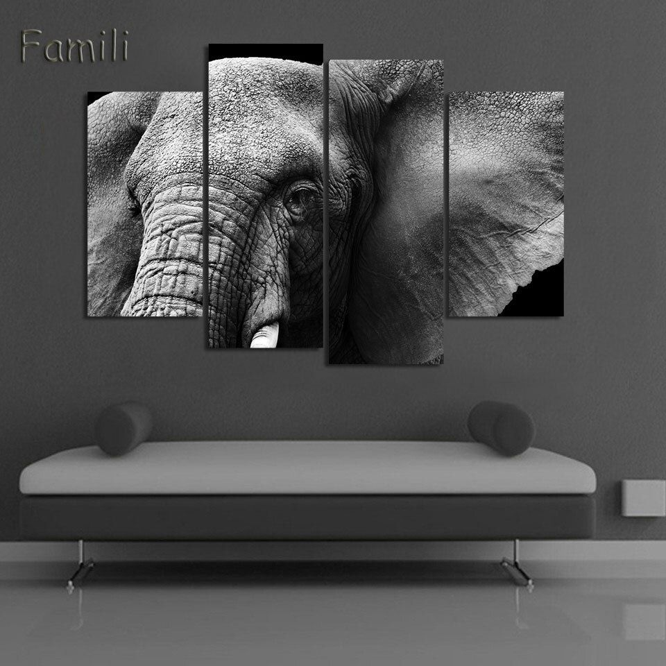 4panel Animal Art Children Living Room Decoration African Elephants Canvas Printed Painting Wall Hanging Home Decor Unframed In 2020 Elephant Canvas Art Animal Wall Art Elephant Canvas