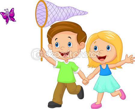 Dibujos animados para ni os mariposa cogida vector stock - Dibujos animados para bebes ...