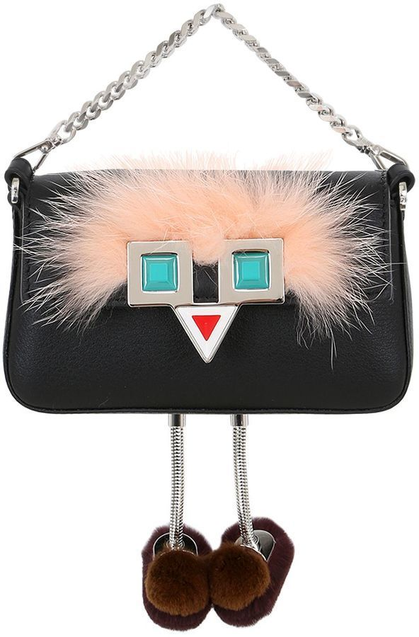 d4cca63847 Fendi Micro Baguette Faces Leather Bag W  Fur