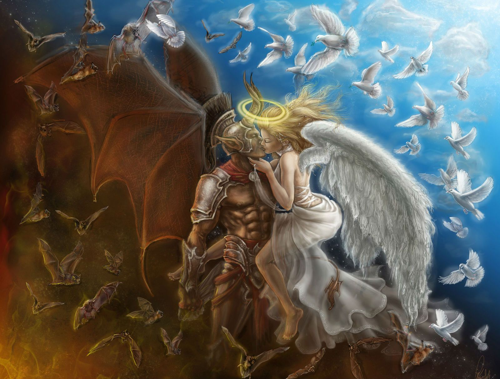 Blonde Angel and Demon Love | Alpha Coders | Wallpaper Abyss Fantasy Love 225263