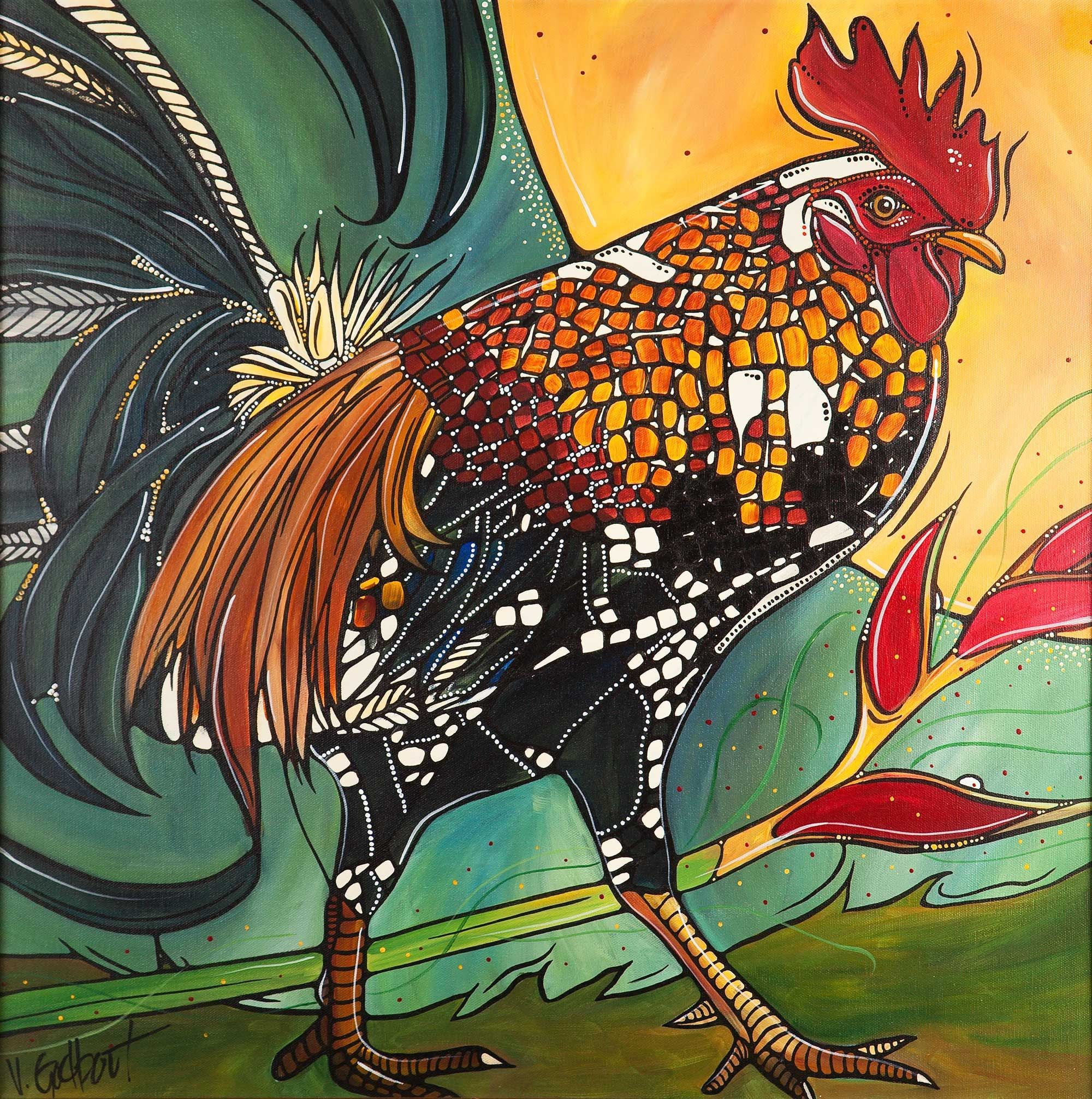 Chicken Art Print Rooster Wall Art Colorful Bird Artwork Farm Animal Giclee Print For Kitchen Decor Rooster Wall Art Bird Artwork Art Prints