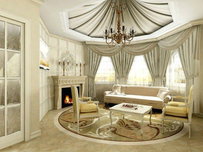 Wohnideen Wohnzimmer In Hellen Farben Kamin Und Runder Teppich
