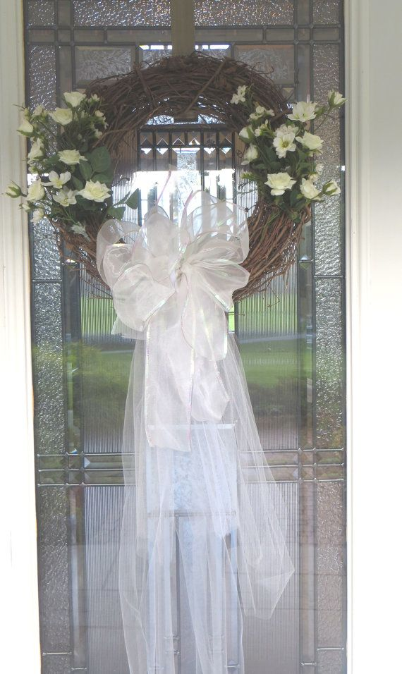 Bridal Wedding Wreath Grapevine Florals Tulle 2 Available