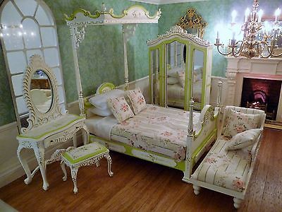 Marvelous Dolls House Finest Jiayi Bedroom Set ~ Four Poster Bed, Dressing Table,  Wardrobe In
