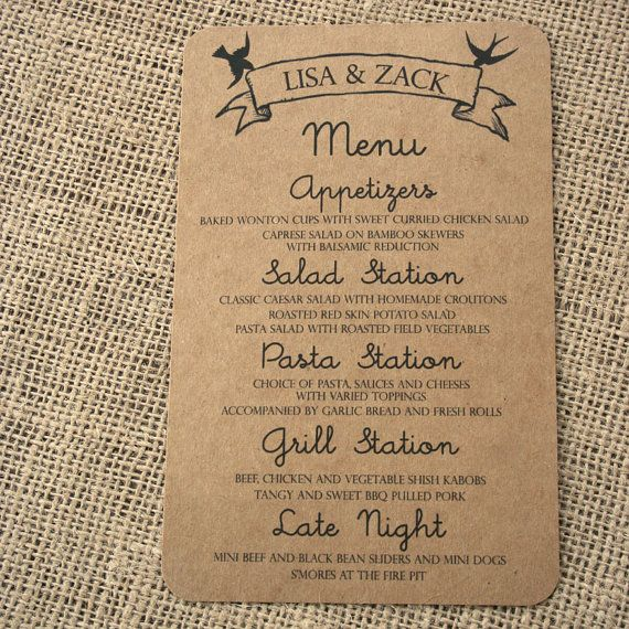 Kraft Paper Menu Card With Modern Birds Romantic And Rustic Script Font 2500 Via Etsy