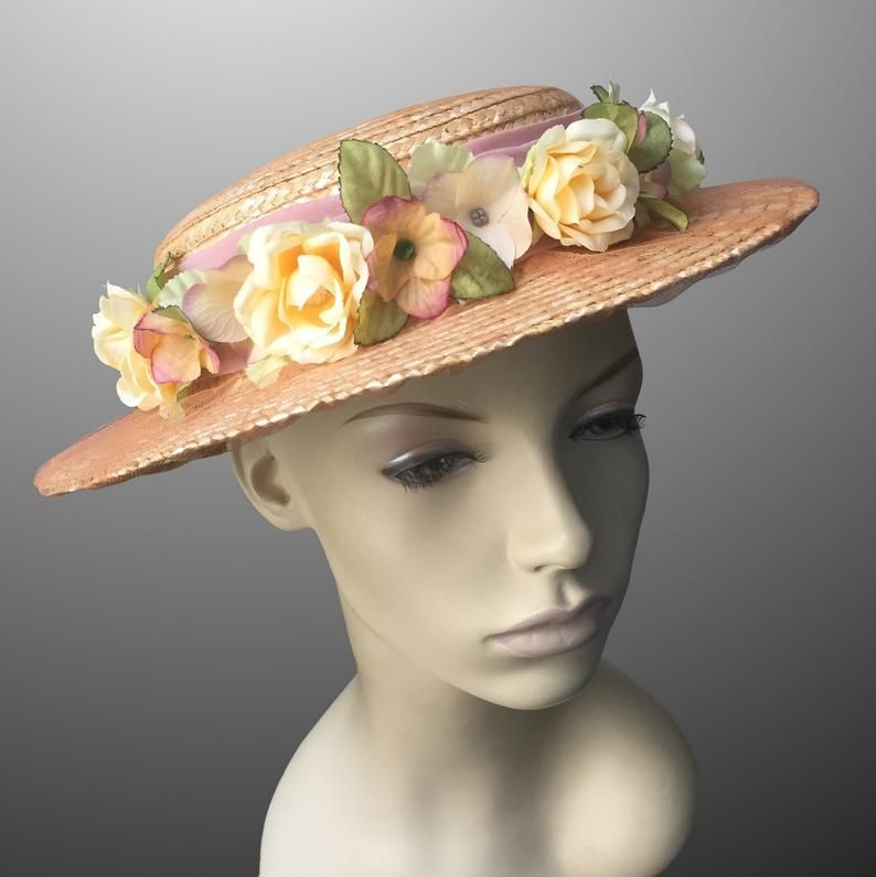Belle Epoque Vintage Straw Flowers Small Brimmed Hat Boater Tulle Millinery Theater Costume Edwardian Period Drama Art Deco Custom Made #edwardianperiod