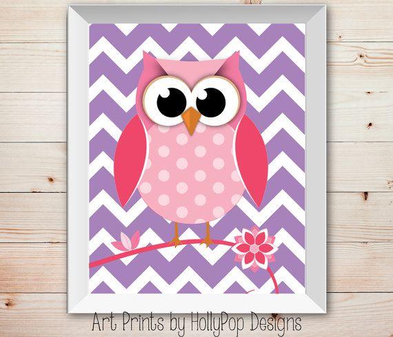 Cute Owl Nursery Decor Bright Pink Purple Woodland Chevron