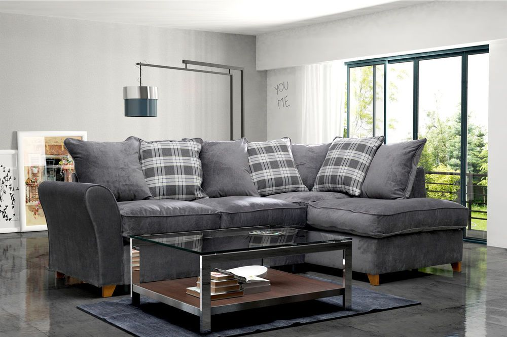Latest New Jasper Fabric Corner Sofa Right Hand Chaise Dark Grey with Scatter Cushions Model - Luxury Charcoal Leather sofa