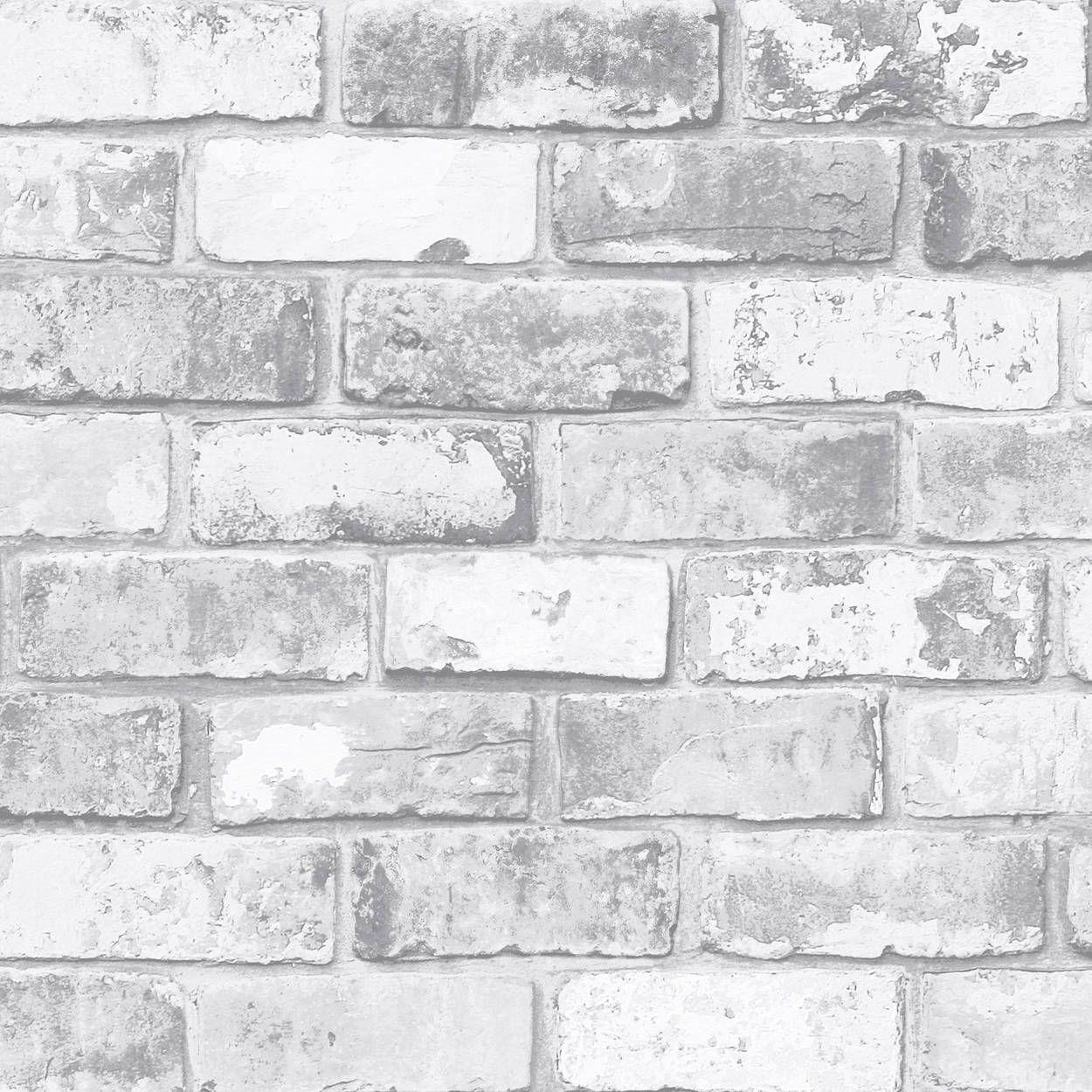 Mur Effet Brique Blanche papier peint effet brique - rouleau double   murs de briques