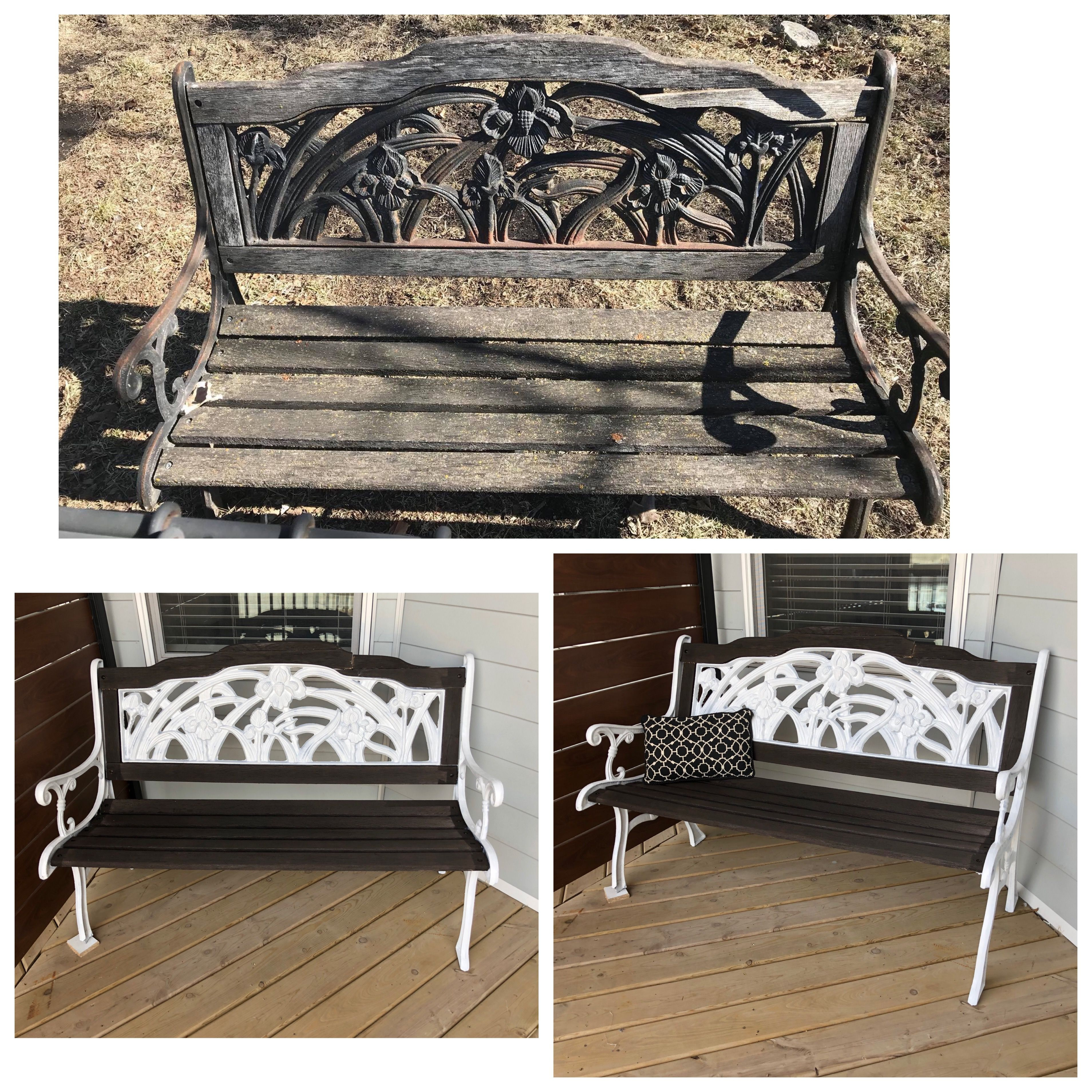 Phenomenal Before And After Of Old Iron Bench Used A Dark Stain On Pdpeps Interior Chair Design Pdpepsorg