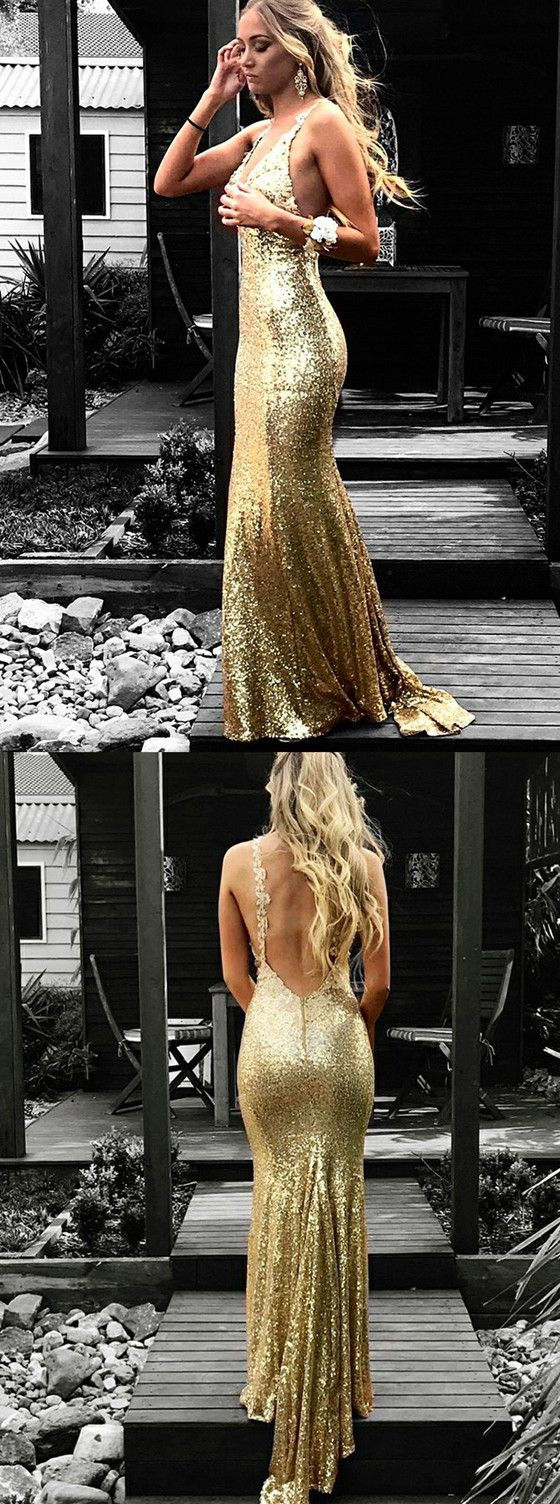 Mermaid vneck backless gold sequins long prom dresses with train