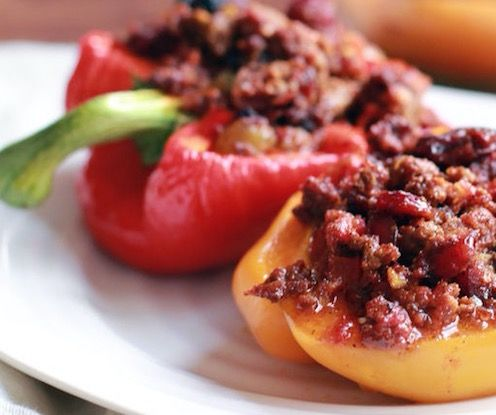 Incredible cuban style picadillo stuffed red bell peppers recipe incredible cuban style picadillo stuffed red bell peppers recipe beef delicious forumfinder Gallery