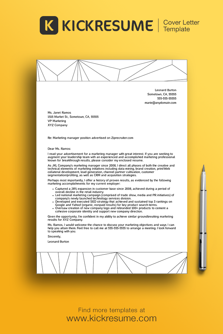 Create Perfect Cover Letter In Minutes And Get Hired Www.kickresume.com [  Creative Cover Letter, Design, Template, Sample, Minimalistic, Minimal,  Career,