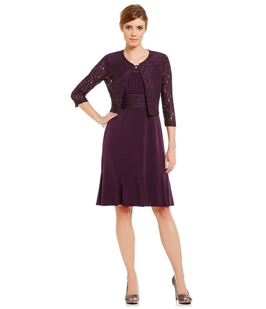 Plum:Jessica Howard 2-Piece Boat Neck Lace Swing Jacket Dress ...