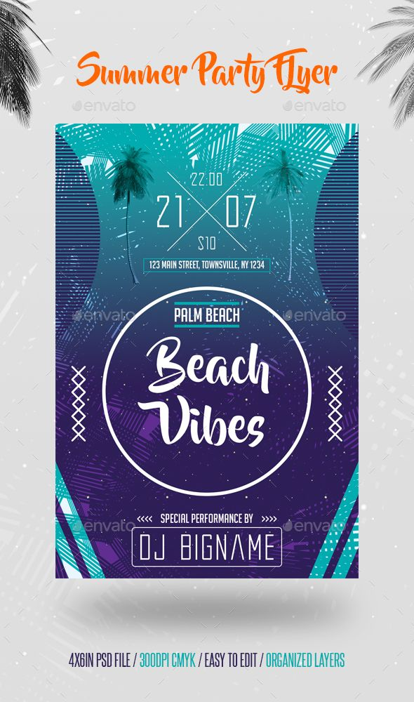 Summer Party Flyer Template Flyer Template Party Flyer And Summer