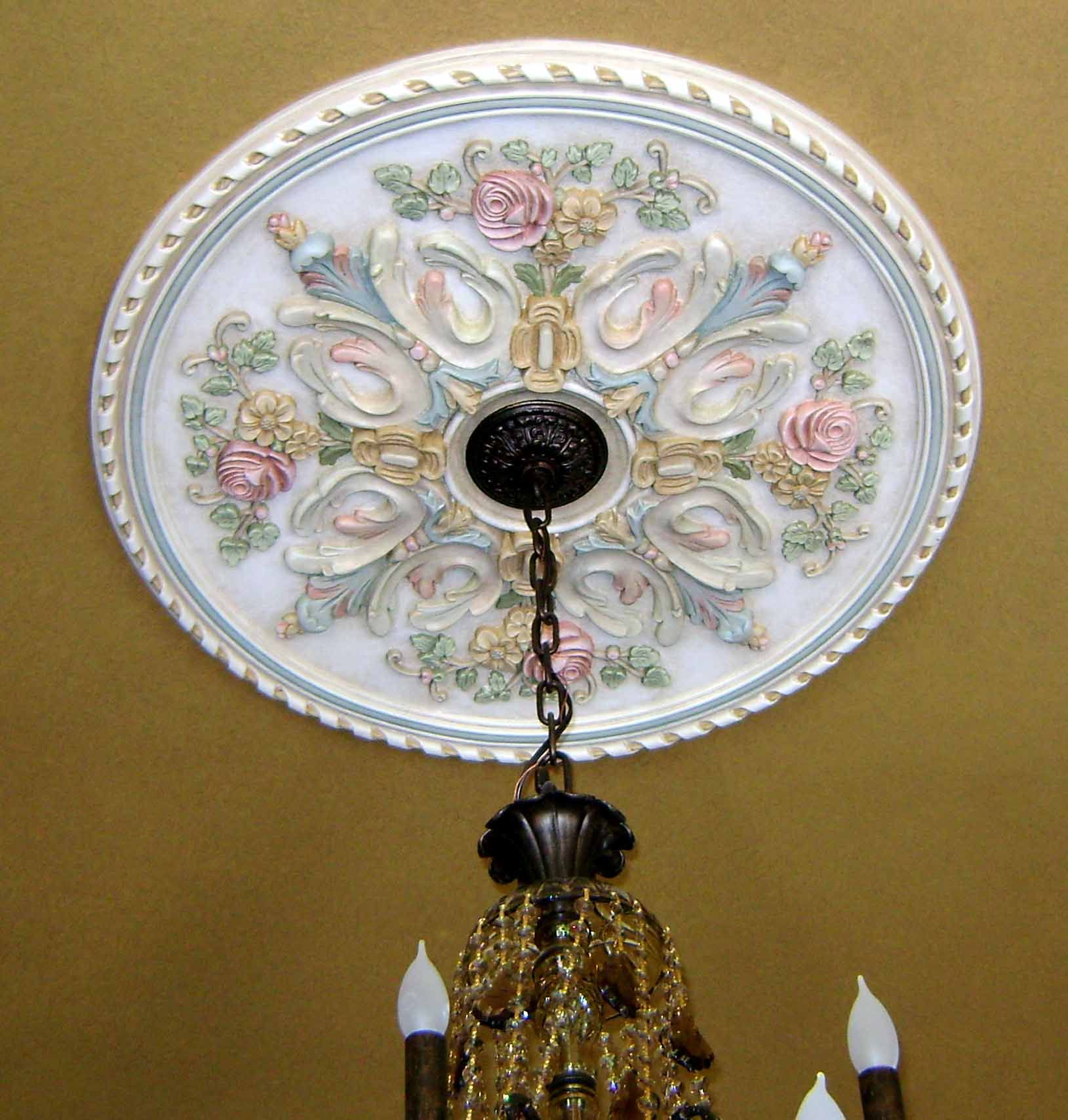 hand finishing barrel on faux pin painted ceiling medallion
