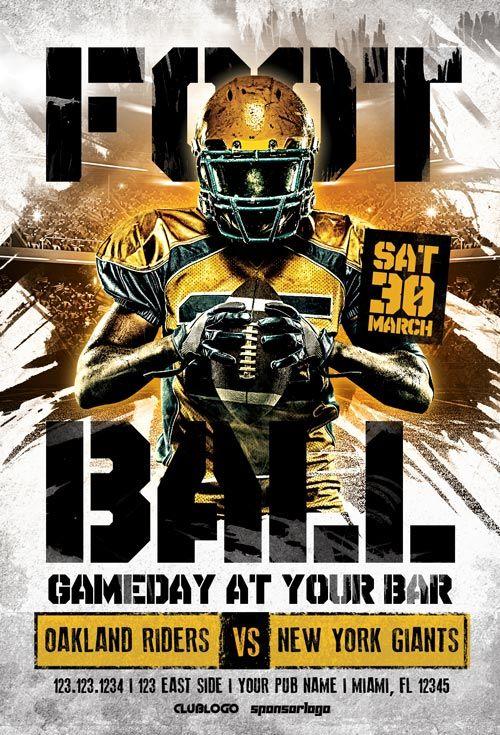American Football Game Day Flyer Template - https://ffflyer.com ...