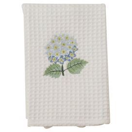 """Embroidered cotton waffle hand towel with a hydrangea motif.   Product: Hand towelConstruction Material: 100% CottonColor: WhiteFeatures:  EmbroideredWaffle design Dimensions: 25"""" x 18""""Cleaning and Care: Machine wash and dry"""