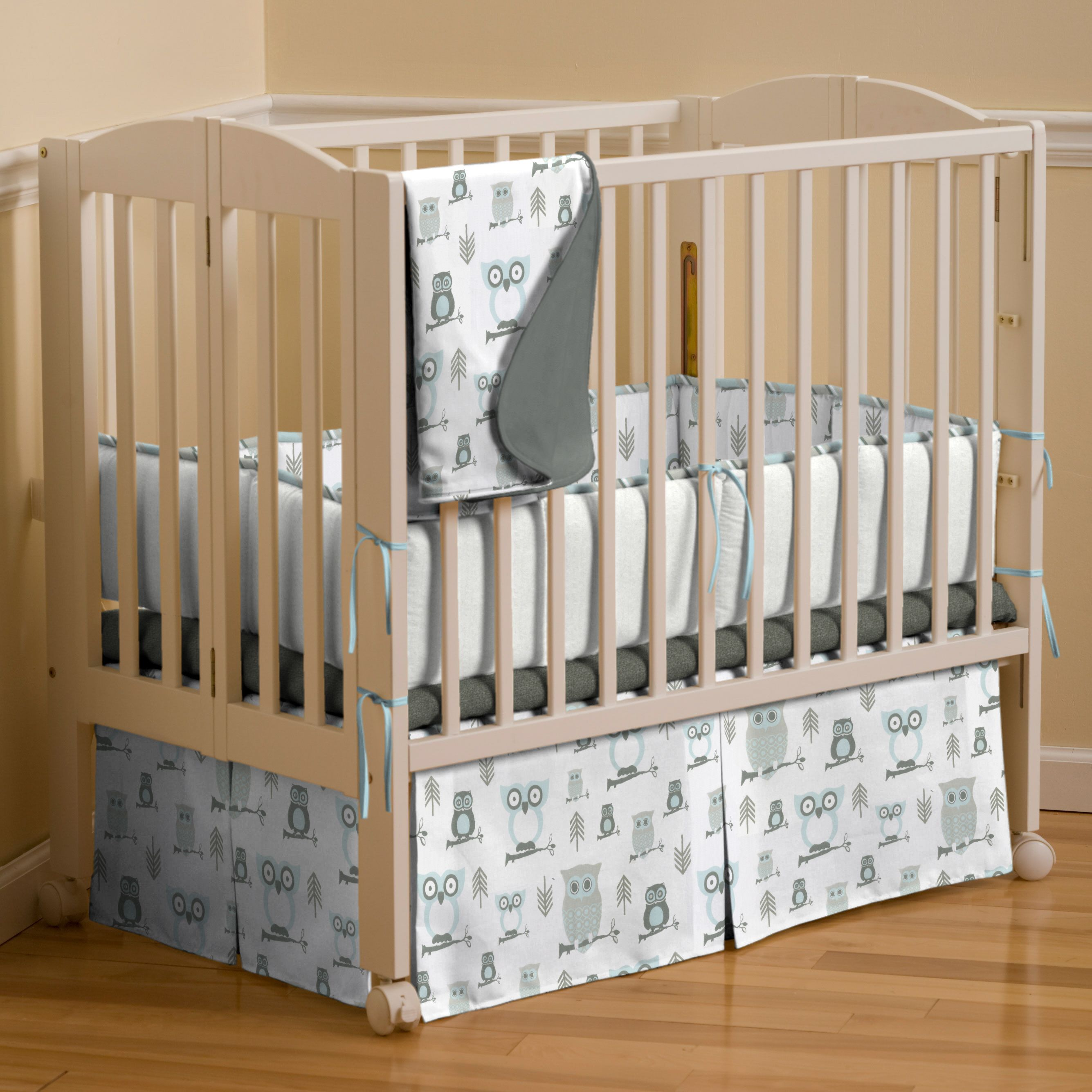 mist and gray owls mini crib bedding by carousel designs baby