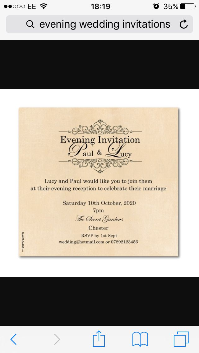 Evening Invitation Wording