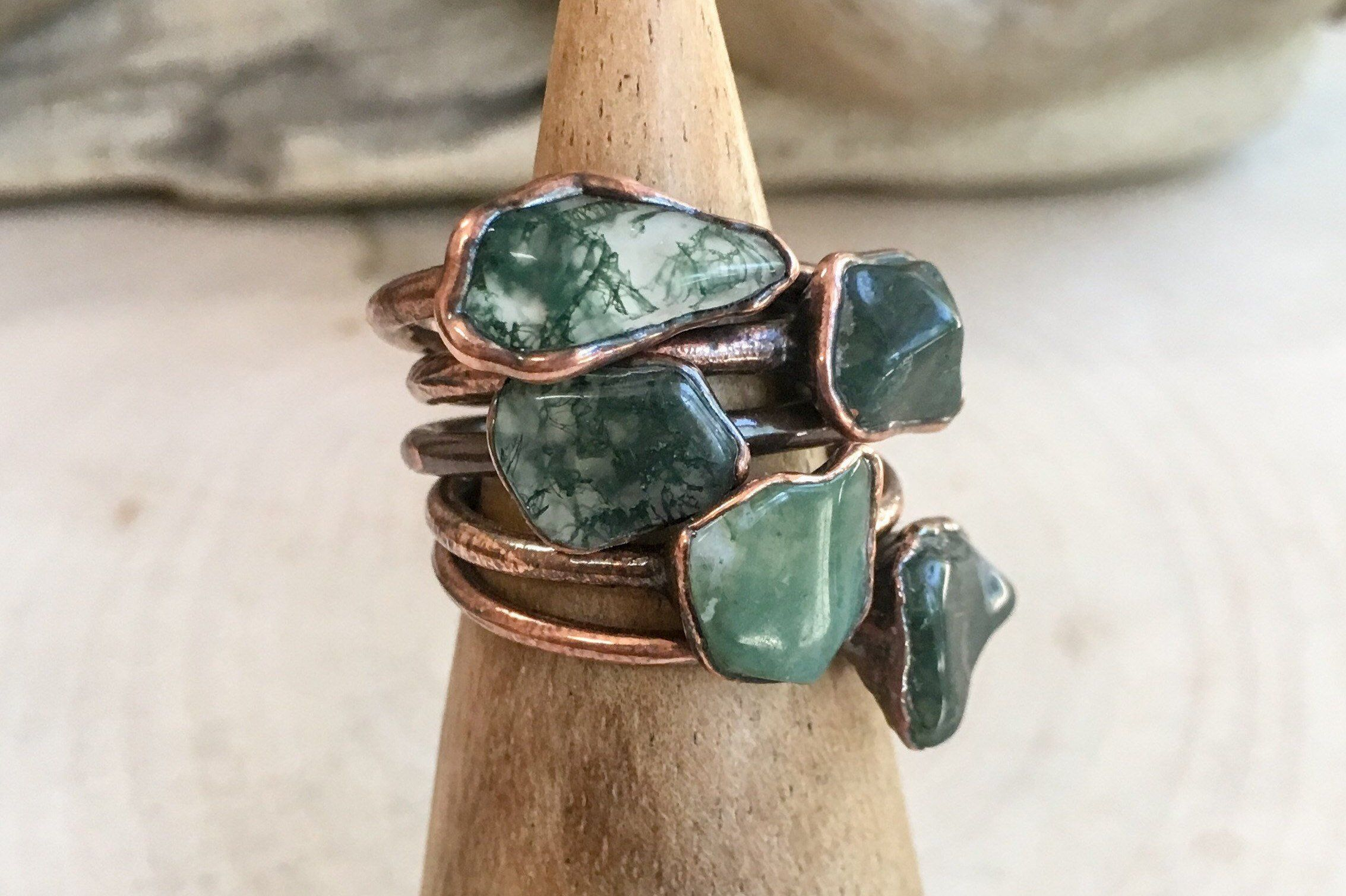 Moss Agate and Copper Necklace  Electroformed Green Moss Agate Pendant  Nature Jewelry  Rustic Jewelry