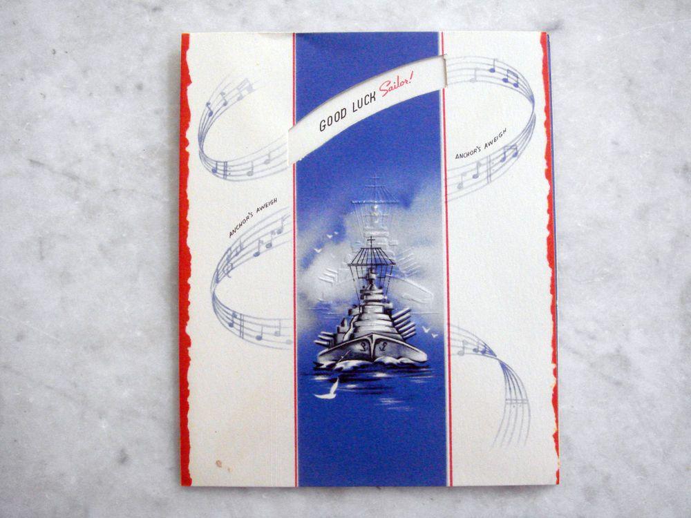 Wwii us soldier military unused greeting card good luck sailor wwii us soldier military unused greeting card good luck sailor anchors aweigh m4hsunfo
