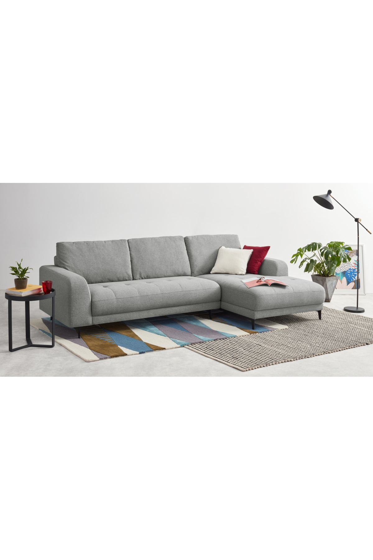 Luciano Right Hand Facing Chaise End Corner Sofa Mountain Grey Corner Sofa Sofa Grey Corner Sofa