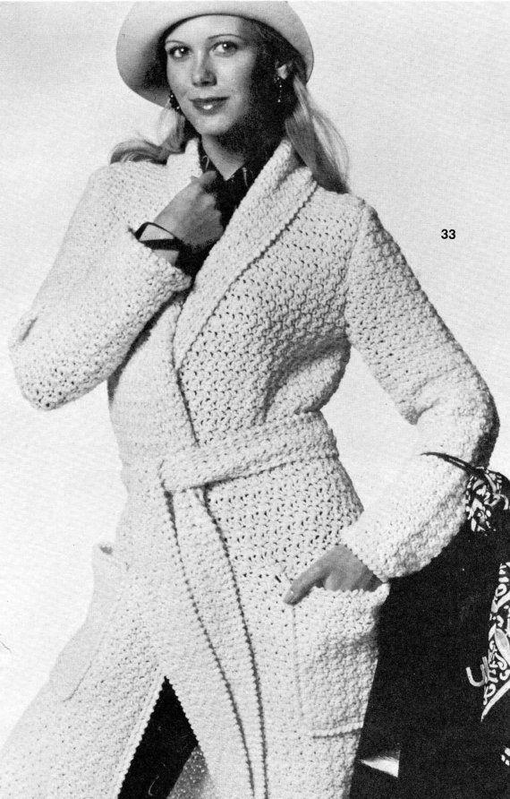 Vintage crochet pattern long sweater coat jacket robe shawl wrap vintage crochet pattern long sweater coat jacket robe shawl wrap belted open front wide collar pockets printable pdf download diy 1960 long sweater coat dt1010fo