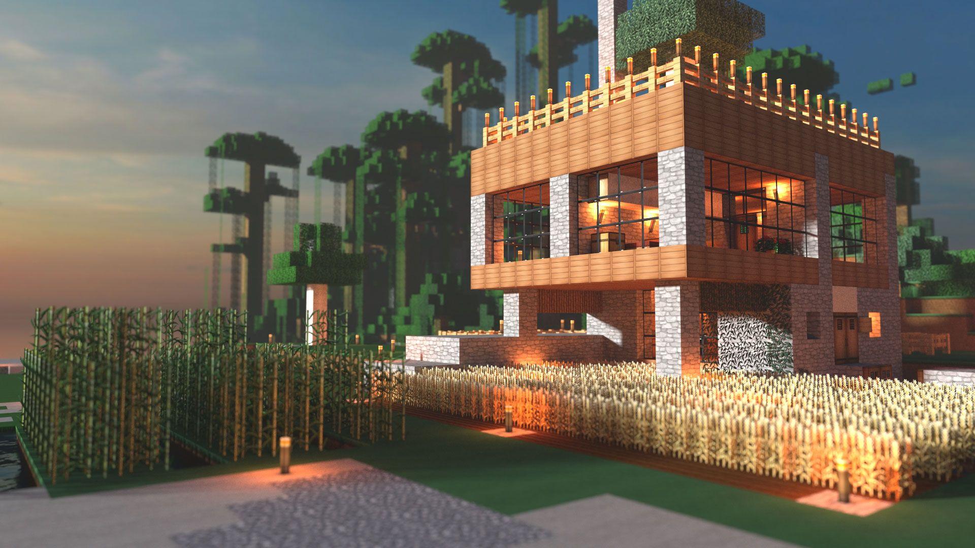 Modern Farmhouse Minecraft Render Minecraft Modern Modern Minecraft Houses Minecraft