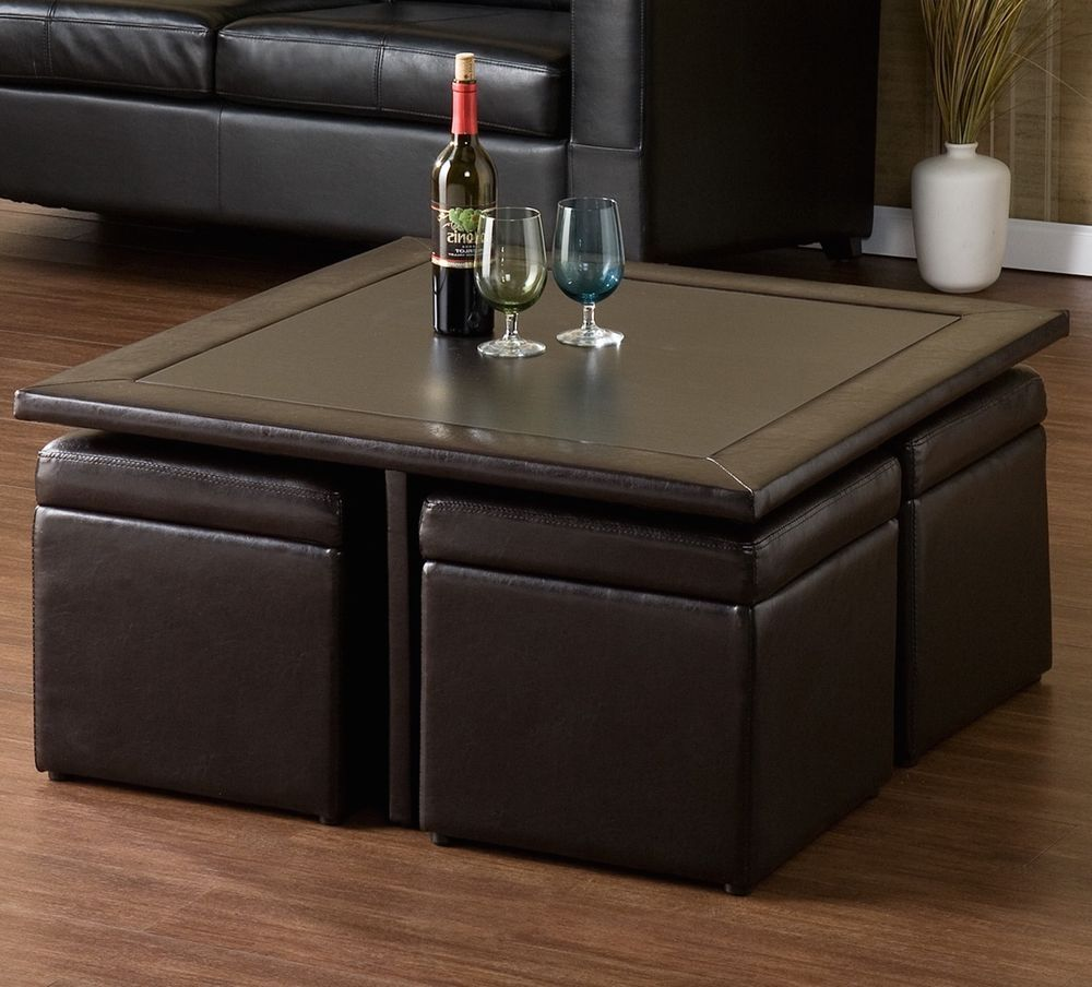 Black Faux Leather Coffee End Table Ottoman W 4 Seats Stools