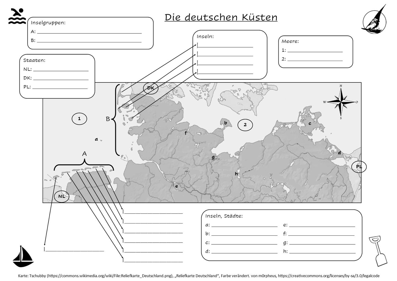 Nordsee Und Ostsee Stumme Karte Der Kusten Deutschlands Mit Losung Unterrichtsmaterial Im Fach Erdkunde In 2020 Ostsee Erdkunde Nordsee