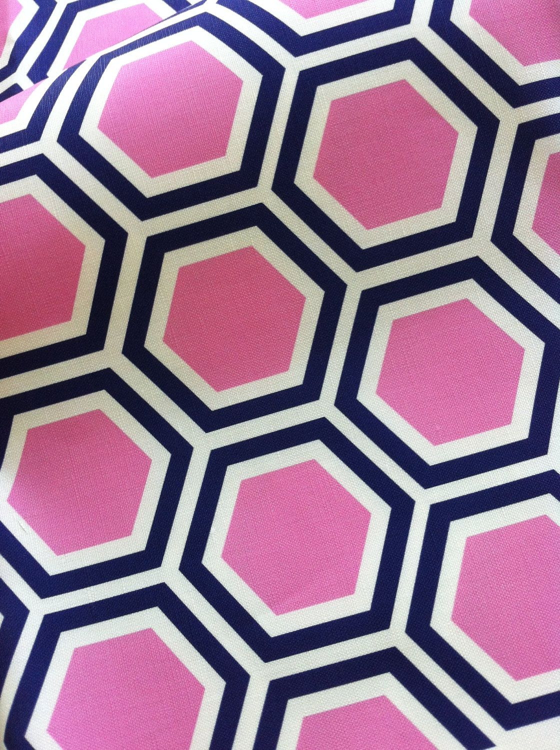 Gentil $42 Tatum In Candy  Original Hexagon Vintage Inspired Home Decor Fabric  Yardage Pink And Navy