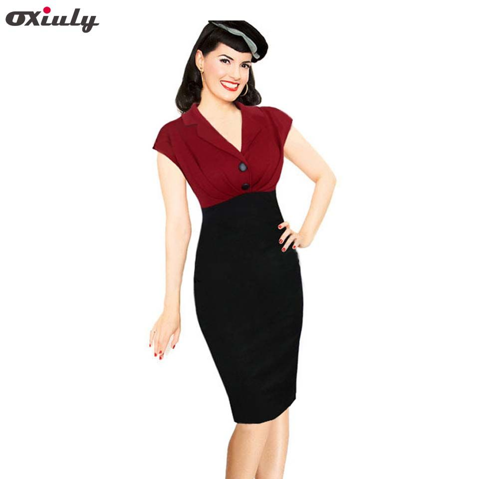Oxiuly Womens Summer Vintage Pinup Retro Polka Dot Floral Print Colorblock Tunic Party Pencil Sheath Bodycon Dress Affiliate [ 960 x 960 Pixel ]