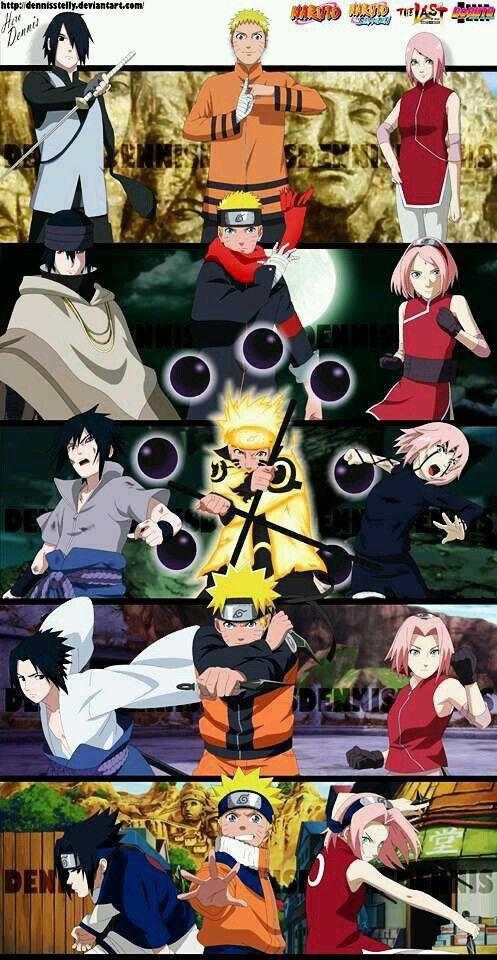 Team7 Naruto Uzumaki Sakura Haruno Sasuke Uchiha Shippuden The Last Gaiden Anime Fanart Team 7 Animasi Komik Lucu