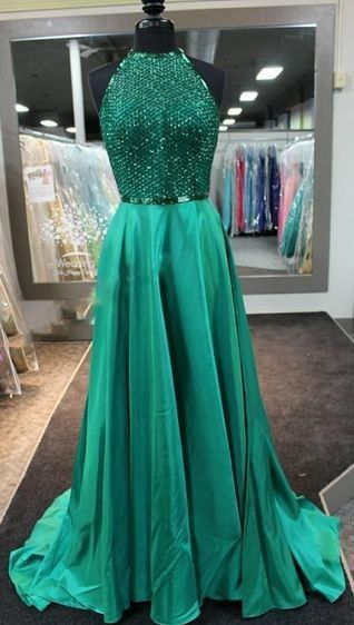 28cc5fcb4c 2017 Dark Green Prom Dresses Long Halter Neck Net Design Top A-line Evening  Gowns