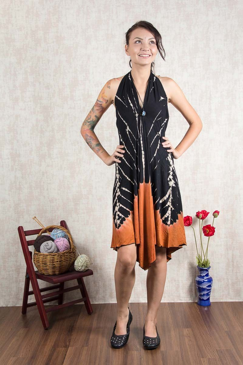 Black and orange short tie dye dress dr springsummer dress