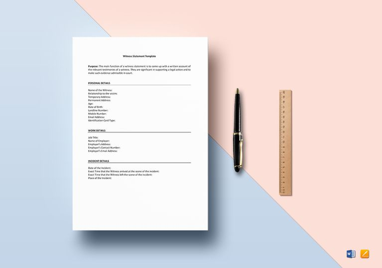 Witness Statement Template - sample witness statement