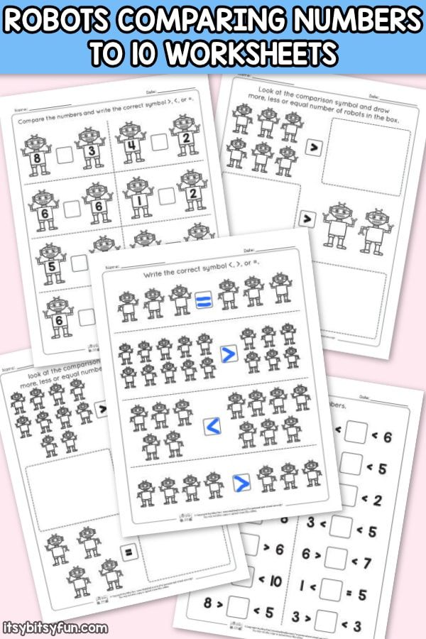 Robots Comparing Number Worksheets Comparing numbers