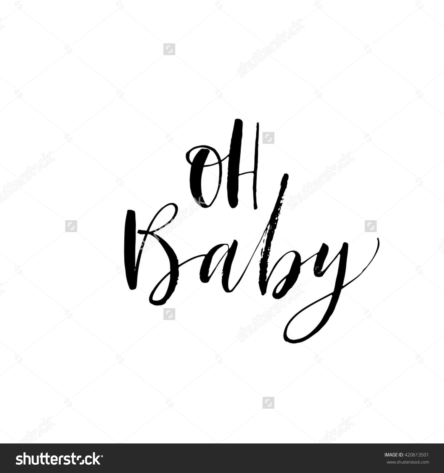 Oh baby card hand drawn lettering background ink