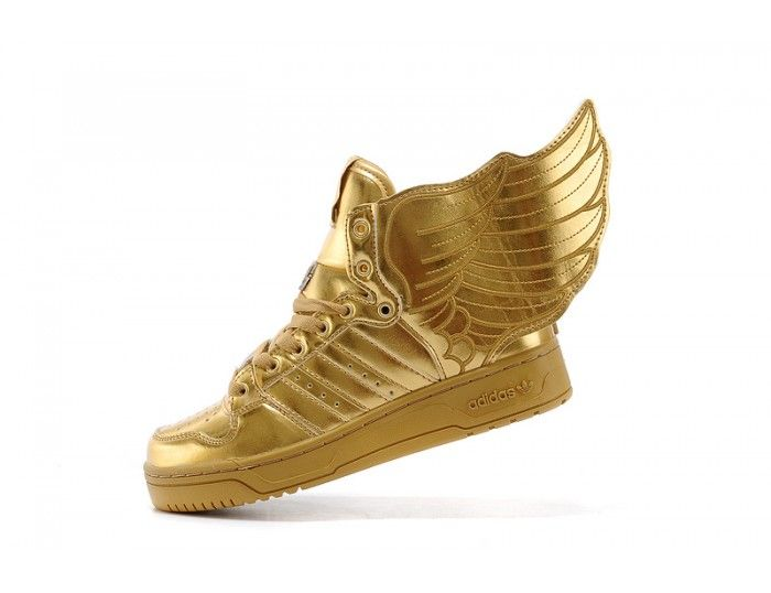 High tops · Gold Adidas Shoes with Wings by Jeremy Scott