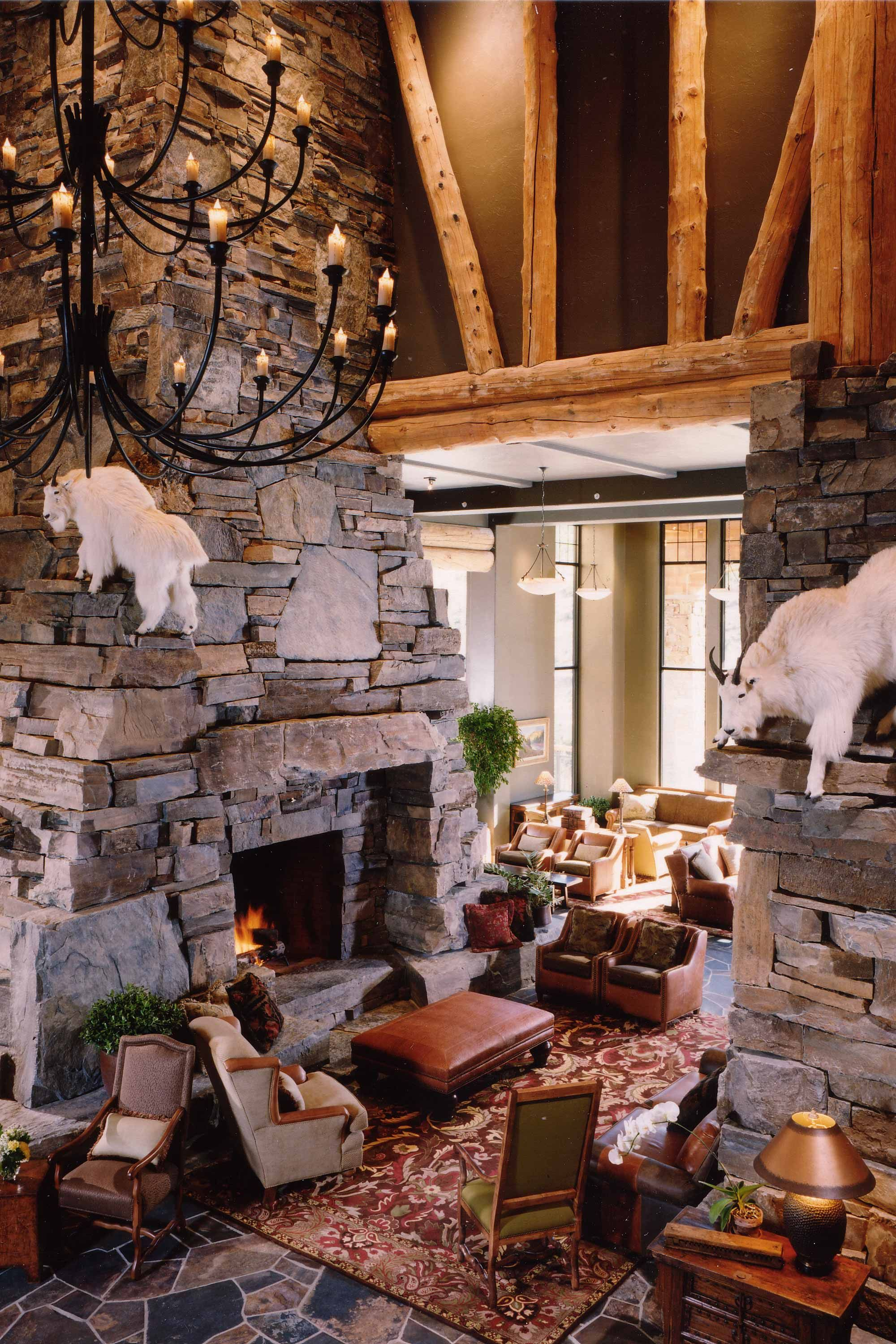 Moonlight Lodge Locati Stone Fireplace Pictures