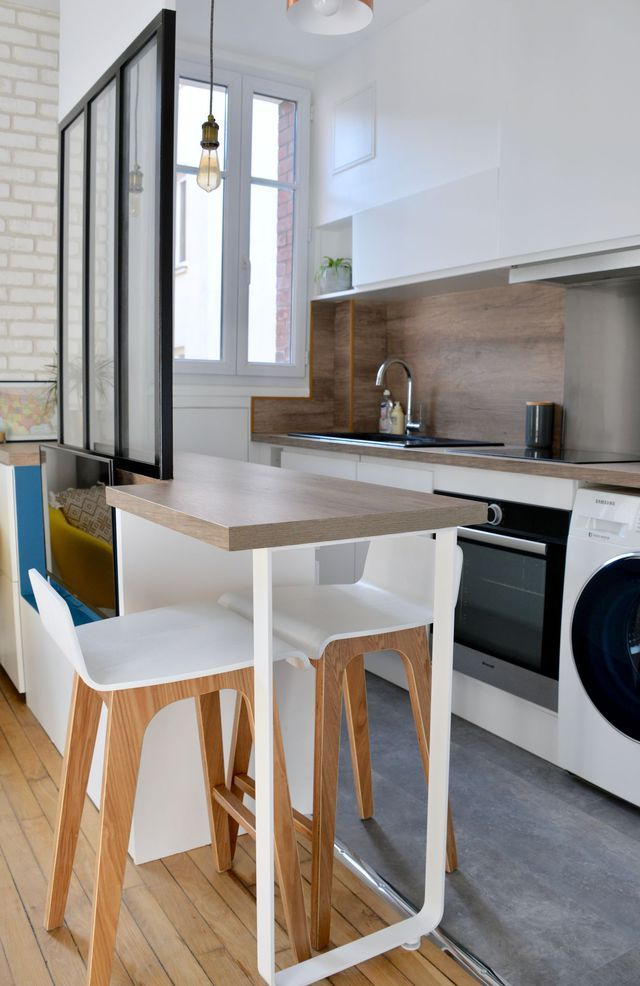 Studio Boulogne : un 28 m2 rénové sur mesure | Ilot central, Coin ...