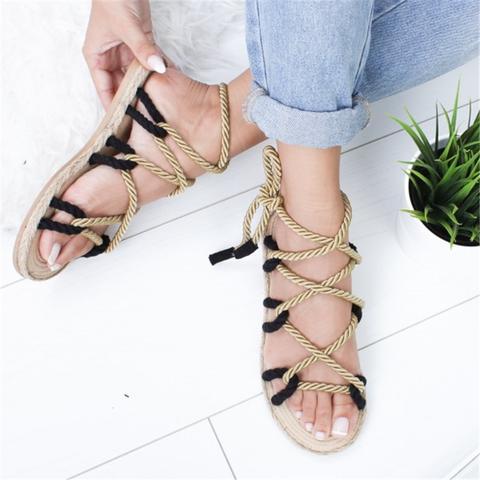 Fashion Boho Women Sandals Lace Up Hemp Rope Rome Sandals Lace Up Sandals Boho Sandals Flat Lace Up Shoes