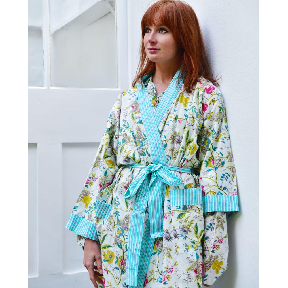 Ladies White Leaf Floral Dressing Gown #luxury #pyjamas #jaipur ...