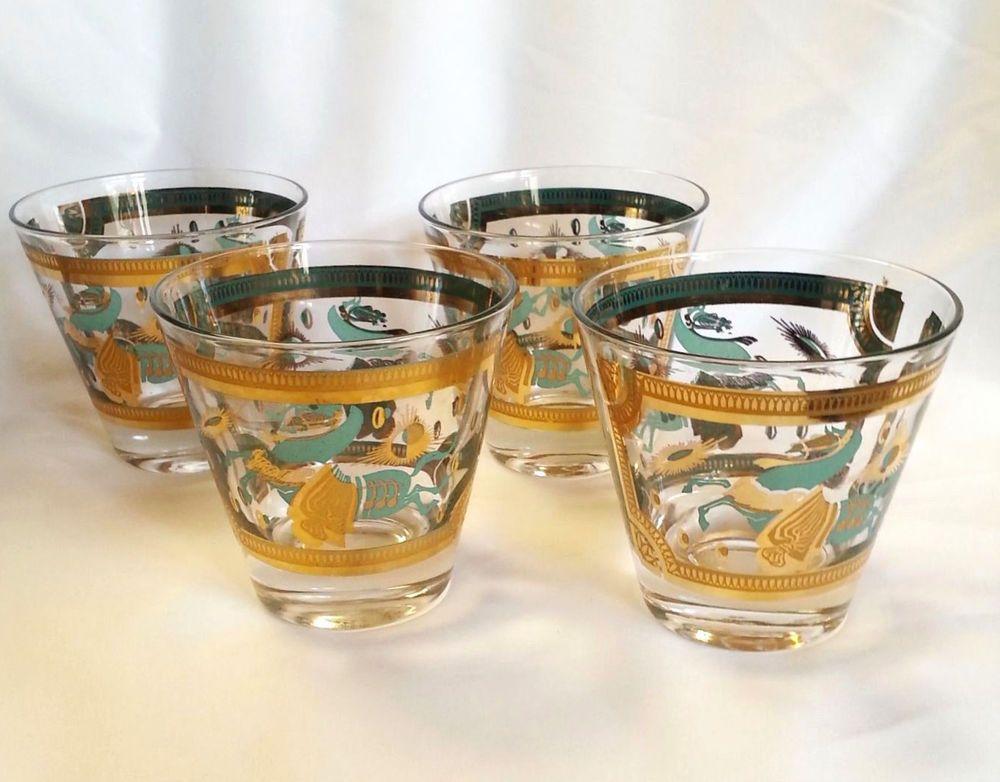 Robin 39 s gift fred press glassware turquoise gold horse starburst atomic cocktail bar set of 4 - Starburst glassware ...