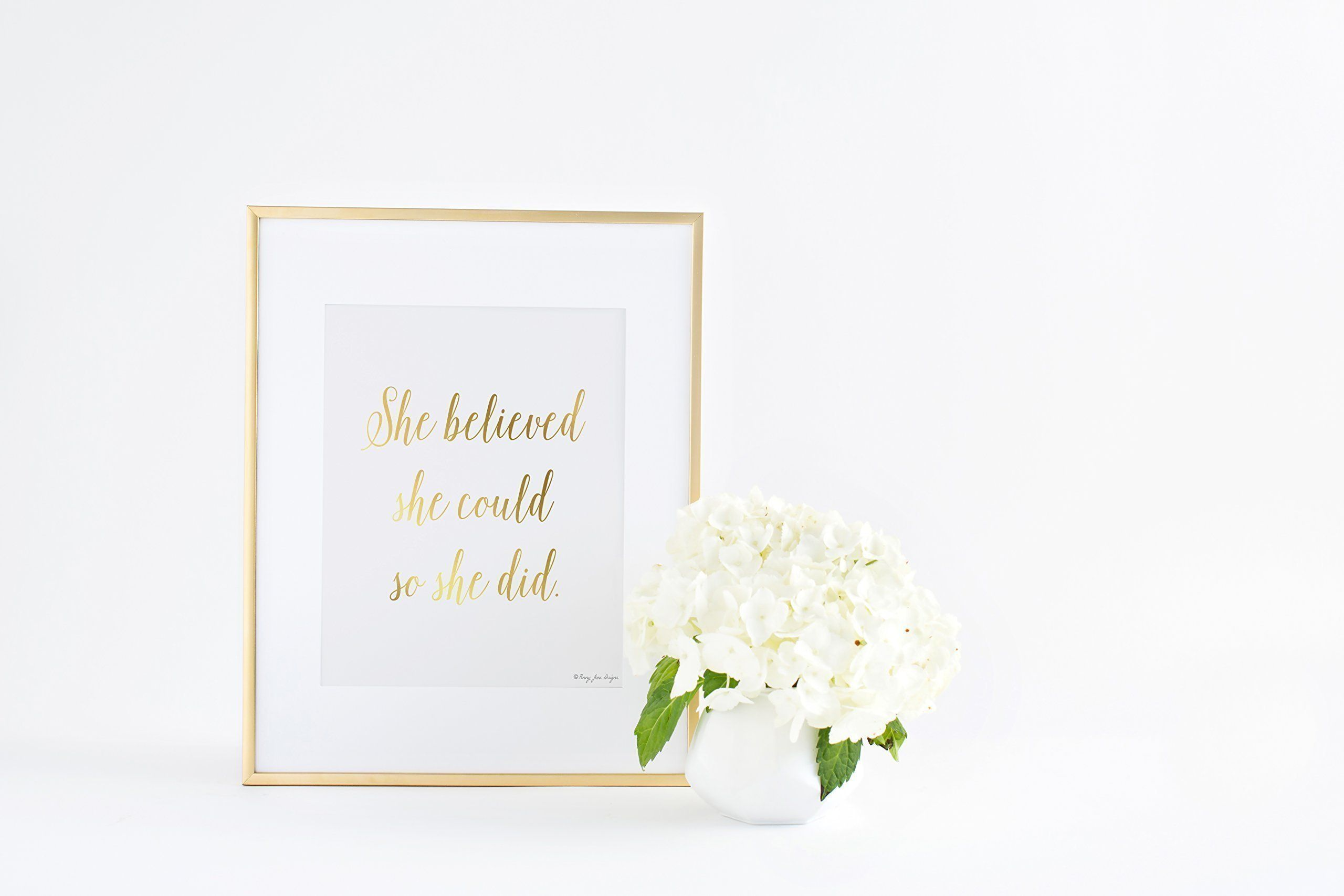She believed she could so she did print gold decor gold nursery