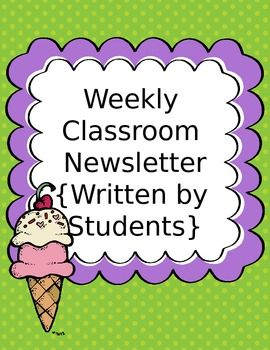 free classroom newsletter template written by students editable