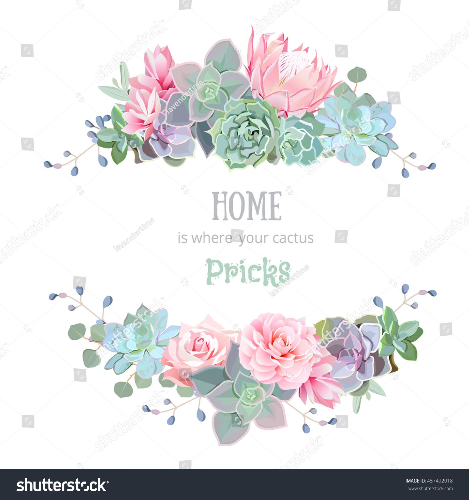 stock-vector-green-colorful-succulents-vector-design-round-frame ...