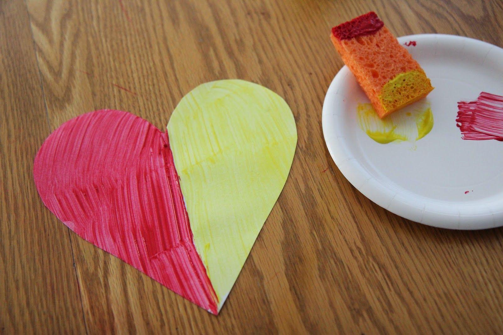 Surprise Color Mixing Heart Craft For Preschoolers