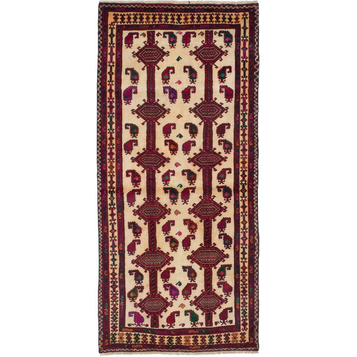 ecarpetgallery Hand-Knotted Finest Baluch Blue Wool Rug (3'0 x 6'8) (Blue Cream Rug (3' x 6'))